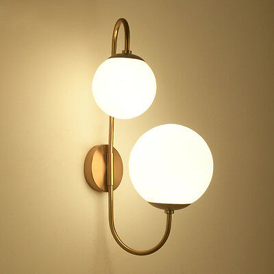 LED Globe Glass Wall Lamp 2-Lights Indoor Wall Sconce Bedroom Golden Lighting