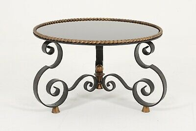 Raymond Subes Coffee Table Antique French Art Deco Wrought Iron Glass Midcentury