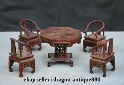 "4.8"" Collect Rare Chinese Redwood Carving Delicacy Small Table 4 Chair Set"