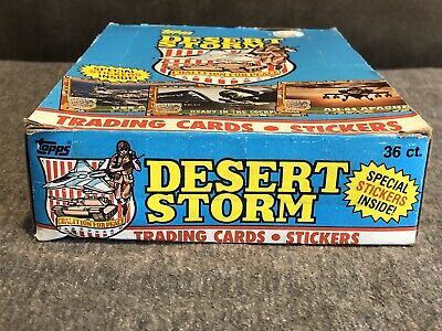 1991 Topps Desert Storm 1991 Trading Cards Unopened Box, 36 Wax Packs & Stickers