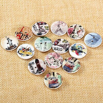 50x Eiffel Tower Pattern Wooden Buttons 2 Holes Scrapbooking Sewing Decoration