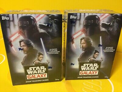 2 NEW 2018 Topps Star Wars Galaxy Blaster Boxes- 10 Packs & 1 Patch Card Per Box
