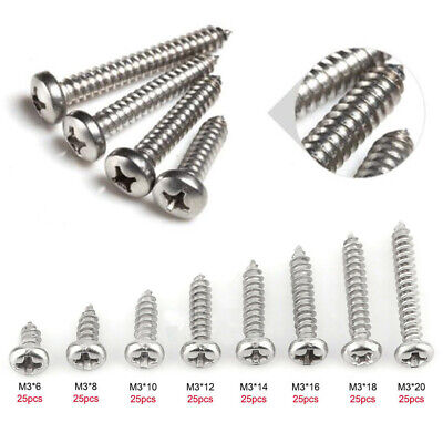 200pcs M3 304 Stainless Mixed Size Flat Head Self-Tapping Screws Kits Repair Acc