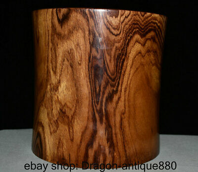 """9"""" Collect Old Chinese Huali Pear Wood Carving Smooth Brush Pot Pencil Vase"""