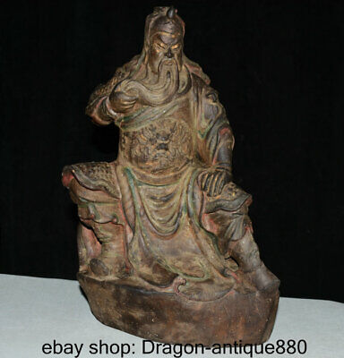 """15"""" antique Chinese Wood Hand-Carving Seat Guan Gong Yu Warrior God Sculpture"""