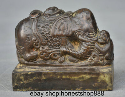 """3.4"""" Old China Bronze Dynasty Palace elephant Tongzi Imperial Seal Stamp Signet"""