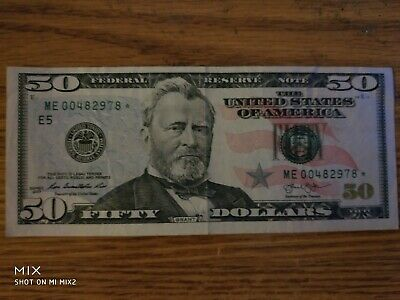 2013 $50 (FIFTY DOLLAR BILL) U.S. STAR NOTE – Collectable Currency ME 00482978