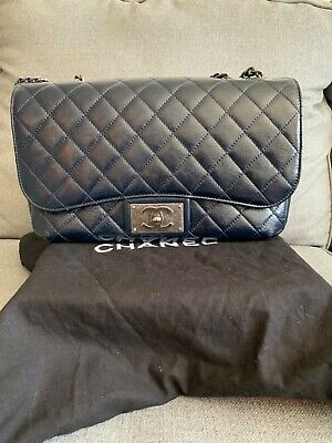 8fb53b839cad NWT CHANEL SO BLACK MEDIUM CLASSIC DOUBLE FLAP 17S White Crumpled ...