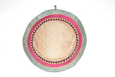 Yoga & Food Eating Small Cane Mat 1980's Old Vintage Antique Home Decor X-41