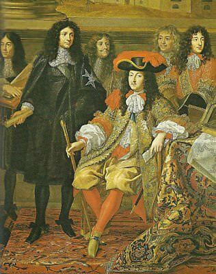 "oil painting on canvas"" King Louis XIV with his Minister Colbert ""@13009"