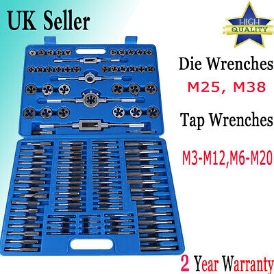 110 PCS Tap & Die Combination Set Tungsten Steel METRIC Wrench Screw Bolt M3-M20