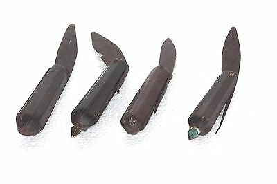 4 Pc Iron Knife old Vintage Antique Wooden Handle Decorative Collectible P-43