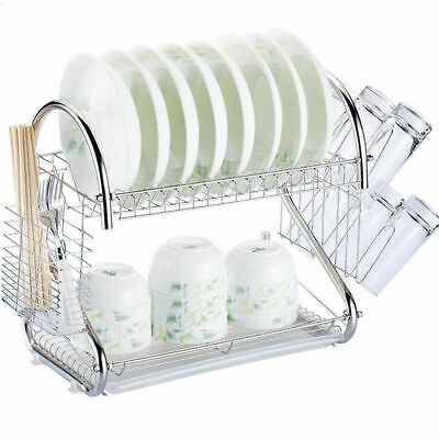 2 Tiers Kitchen Dish Cup Drying Rack Drainer Cultery Storage Holder Organizer