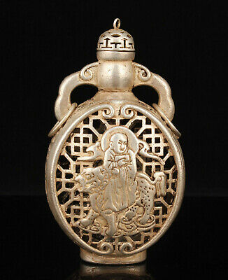 China Collectible Hand-carved Hollow Out Tibetan Silver Snuff Bottle