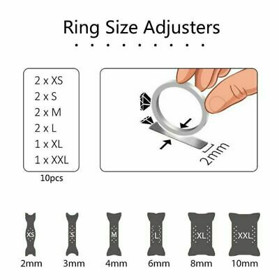 10PCS Ring Size Reducer Resizer Adjuster Rings Sizes Clip Guard Invisible Design