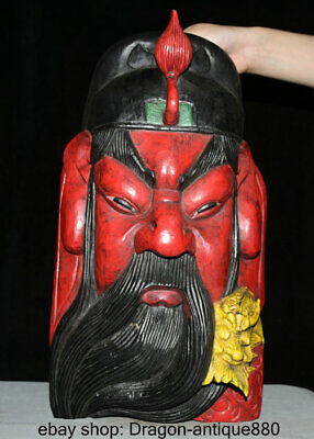 """15"""" Old Chinese Wood Painted Hand-Carved Guan Gong Yu Warrior God Head Mask"""