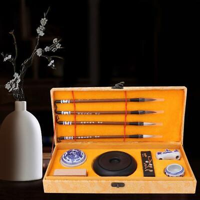 Vintage Traditional Chinese Calligraphy Set With Box+Four Brushes+Inkpad+Seal