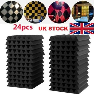 24PCS Acoustic Panels Tiles Studio Sound Insulation Closed Cell Foam Proofing