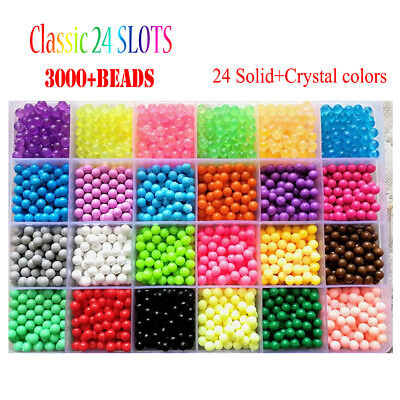 NEW 3000/5000 SUPER REFILL Aquabeads Water Fuse Beads 24 SEPARATE Color Packing