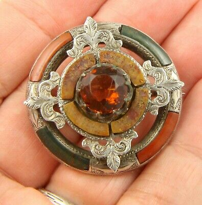 Antique Victorian 1890 sterling silver Scottish agate citrine brooch pin
