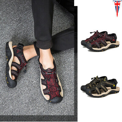 Mens Sport Strapped Closed Toe Sandals Walking Hiking Shoes Summer Beach Casual