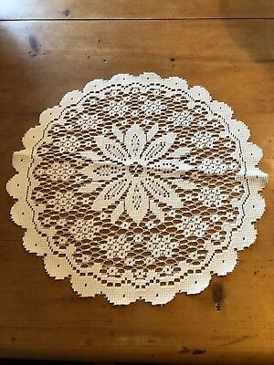 "Brand New Round White 16""-Wide 100% Polyester Placemat"