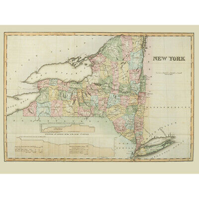 Colden 1825 Map New York State USA Canvas Wall Art Print Poster