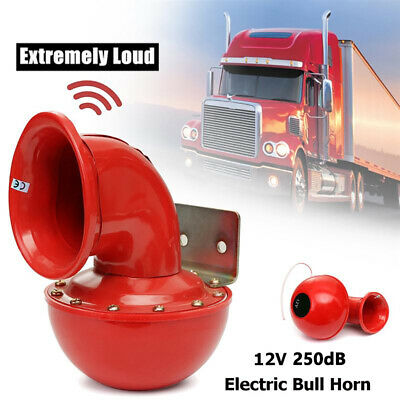 Loud 250DB 12V Red Electric Bull Horn Air Horn Raging Sound For Car