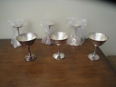 Six Vintage Salem Portugal Silver Plate Chalice Goblets - 2 Still in Package
