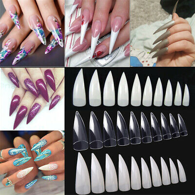 100/600Pcs Clear Natural White Stiletto Point French Acrylic UV Gel Nail Tips US