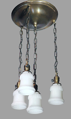 Vtg Antique 1909 Ceiling Light Fixture Chandelier Brass Glass Art Deco Nouveau