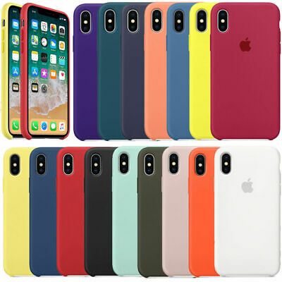 Original Silicone Leather Case For Apple iPhone XS Max XR 6 7 8 Plus X Genuine