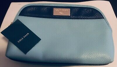 3094887e62 COLE HAAN Womens Kiera Large Pouch Clutch Cosmetic Bag Aqua & Navy Leather  NWT