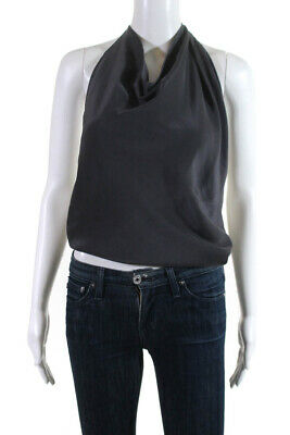 152a357e16def6 Emerson Thorpe Womens Silk Backless Halter Neck Tank Top Blouse Gray Size XS
