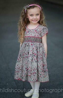 Boutique Baby Girls Brown Cherry Floral Hand Smocked Fall Dress Headband 17591