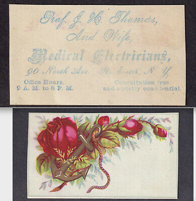 """Prof Thomas & Wife """"Medical Electricians"""" Quack Electric Cure Rochester NY Card"""
