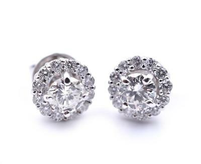 18k White Gold Diamond Stud with Halo Earrings