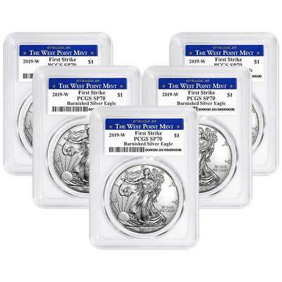 Lot of 5 - 2019-W Burnished $1 American Silver Eagle PCGS SP70 FS West Point Lab