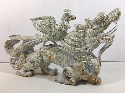 Asian Antique Stone Carved Dragon Sculpture Statue