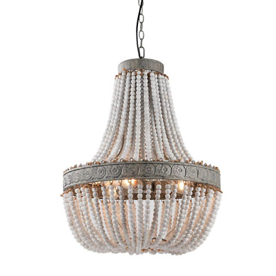 LED French Wooden Beads Chandelier American Country old Carving Restaurant Light