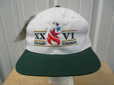Champion Atlanta 1996 Xxvi Olympiad Leather Strapback Hat Ivory Green Vtg 90s Fan Apparel & Souvenirs