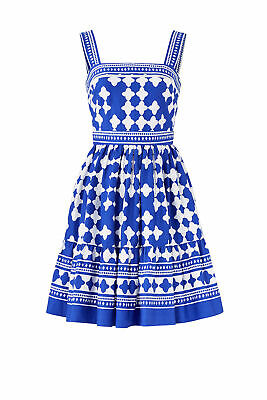 0dfdc52819d6 Kate Spade Blue White Women's Size 4 Flare Square Neck Sheath Dress $398  #412