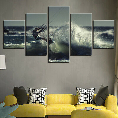5PCS/set Modern Wall Art Picture Surfing Spray Painting Canvas Home Room