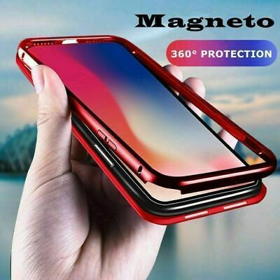 360° Cover Magnetic Absorption Tempered Glass Case For Samsung S7 S8 S9 Plus