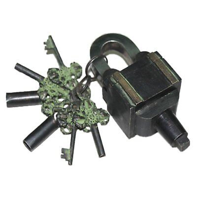 Garden Lock Functional Brass Square Tricky Lock Puzzle Padlock with Antique Fini