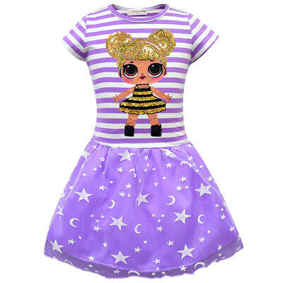 LoL Surprise doll Girls Summer Dresses  t-shirt Dress Cotton Fit 2-8 Years Kid's