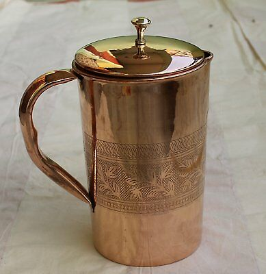 Hand Embossed Pure Copper Jug Pitcher With Lid For Health Benefits Capacity 59oz