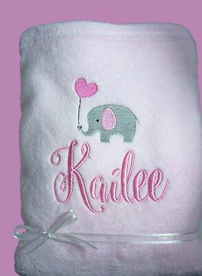 Personalised Baby Blanket Pram Cot 75cmx 90cm Gift Embroidery Elephant Any Name