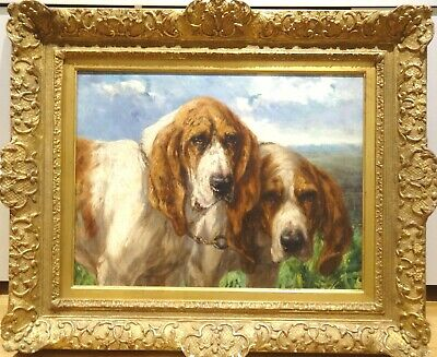 Fine Large 19th Century Portrait Of Two Bloodhound Dogs Antique Oil Painting