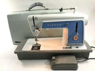 Singer Sewing Machine Vintage Touch & Sew Model 604 Straight Stitch Test & Case
